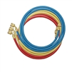 "46336 Mastercool Set Of 3-36"" Barrier Hoses W/Shut-Off Valve Fitting"